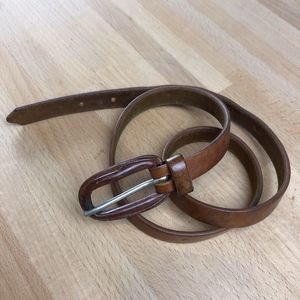 Vintage Saddle-Tan Leather Skinny Belt - Sm/Md